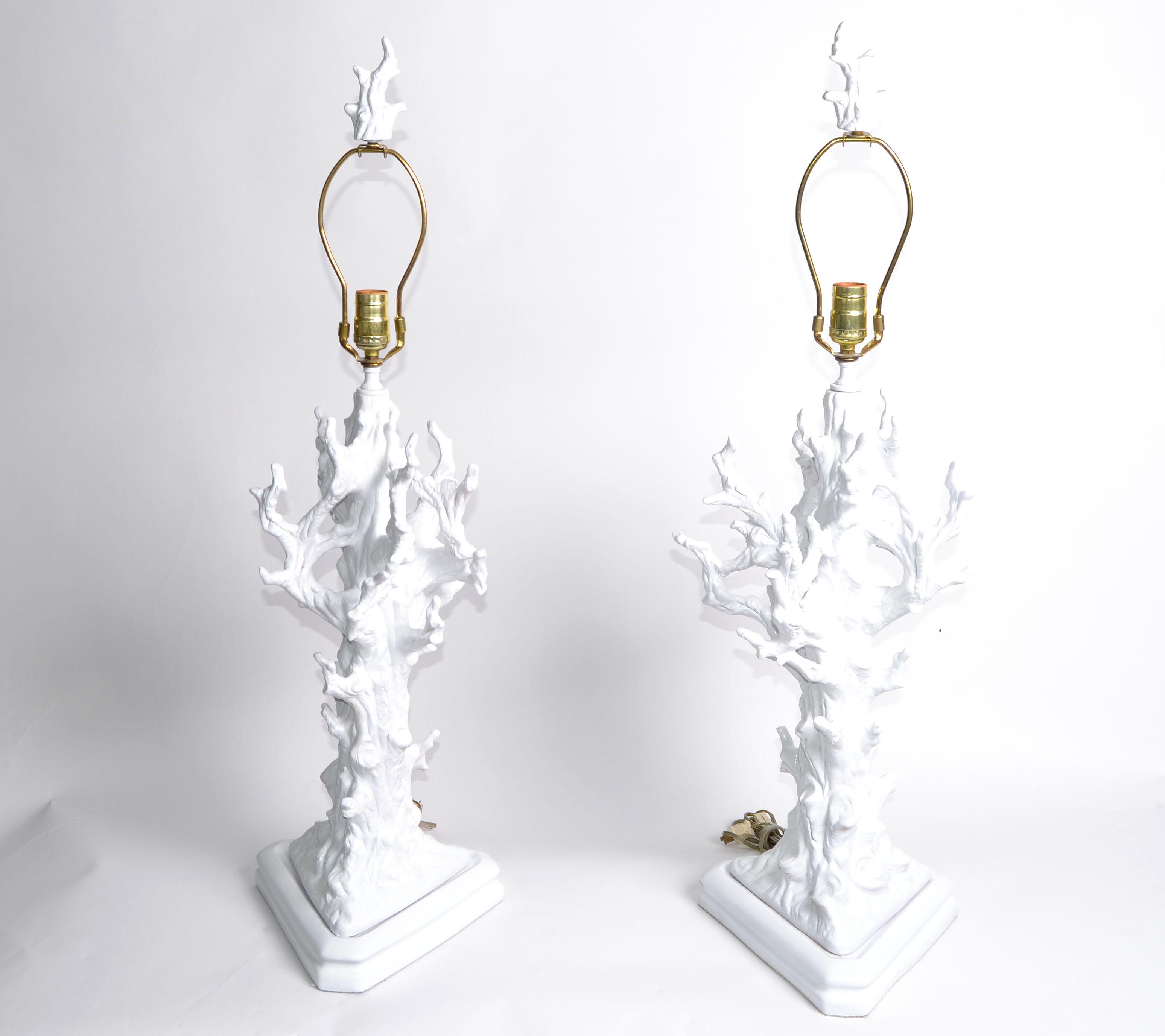 White Porcelain Tree Branches Table Lamps With Matching Finials. In Perfect  Working Condition And Each