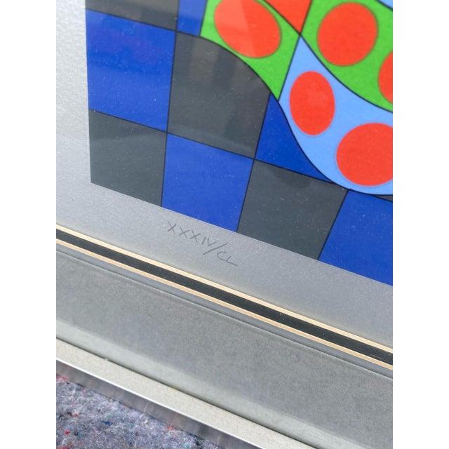 "Victor Vasarely 1980s ""Fille Fleur"" Op Art Signed Serigraph by Victor Vasarely, Framed For Sale - Image 4 of 6"