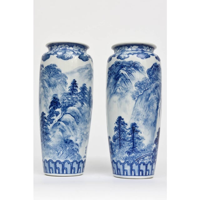 Pair of Vases, Antique Blue and White Japanese, Signed For Sale In West Palm - Image 6 of 10