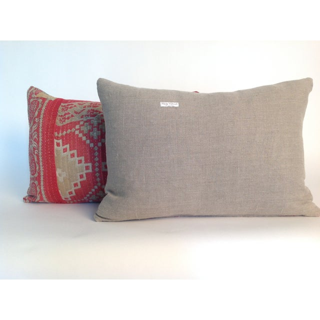 Boho Chic Vintage Block Print Kantha Quilt Pillows - A Pair For Sale - Image 3 of 4