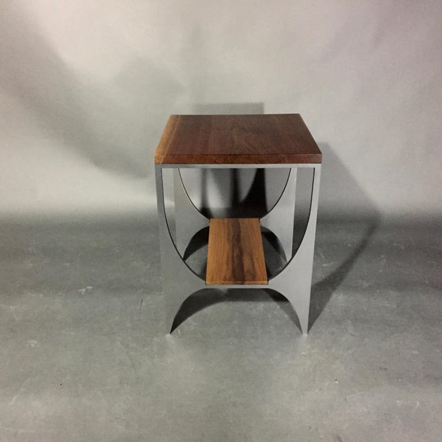 "Richard Velloso ""Curves of Grace"" Black Walnut & Steel Side Tables For Sale In New York - Image 6 of 10"