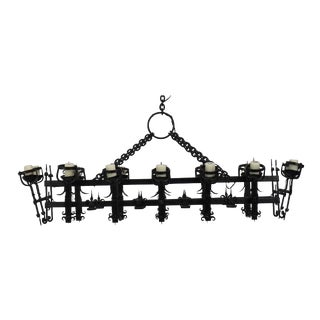 Large Henry III Style Hand Wrought Iron Chandelier For Sale