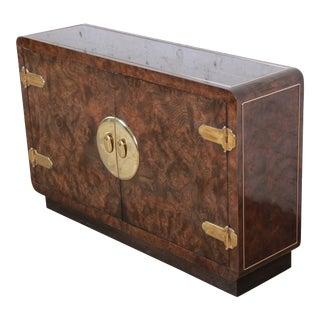 Bernhard Rohne for Mastercraft Hollywood Regency Burled Carpathian Elm Wood and Brass Bar Cabinet For Sale