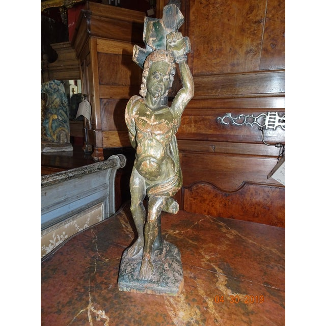 Italian Carved Wood Statue For Sale - Image 11 of 11