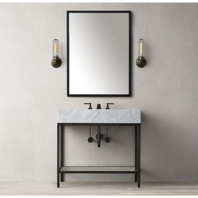 Art Deco Restoration Hardware Hudson Metal Single Washstand Bathroom Sink Vanity For Sale - Image 3 of 9
