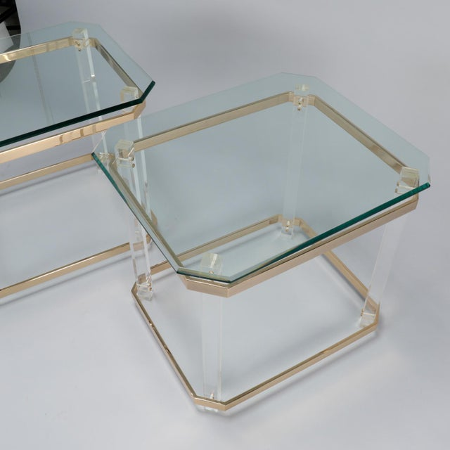 Pair Mid Century Lucite Brass and Glass Side Tables For Sale - Image 9 of 11