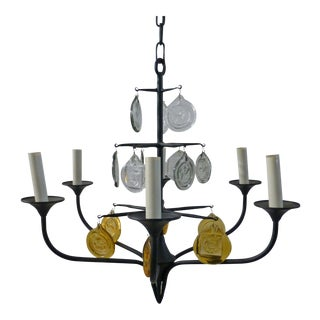 Eric Hoglund 1960s 6 Arm Black Iron and Boda Nova Crystal Chandelier Yellow & Clear Axel Stromberg Ironworks Sweden