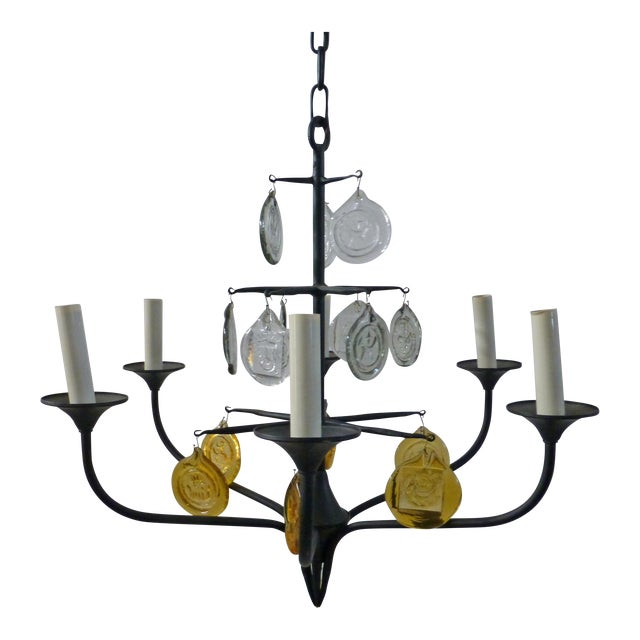 Eric Hoglund 1960s 6 Arm Black Iron and Boda Nova Crystal Chandelier Yellow & Clear Axel Stromberg Ironworks Sweden For Sale