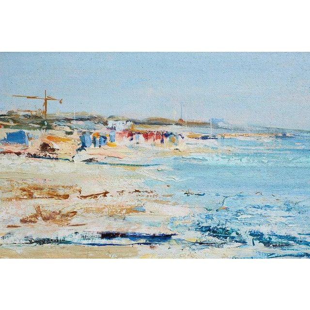 Mid-Century Modern Mid Century T. Scola Coastal Painting Oil on Board For Sale - Image 3 of 13