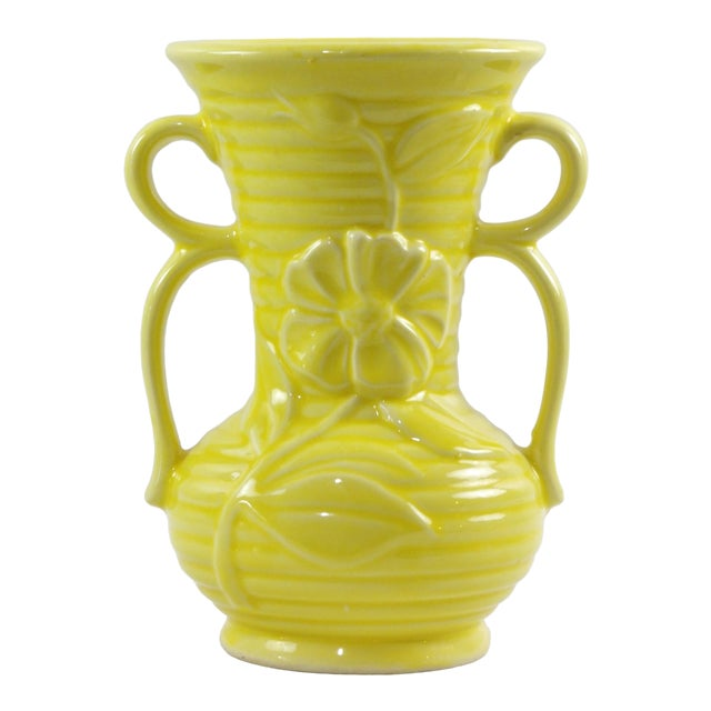 1950s Shawnee Pottery Yellow Vase With Handles For Sale