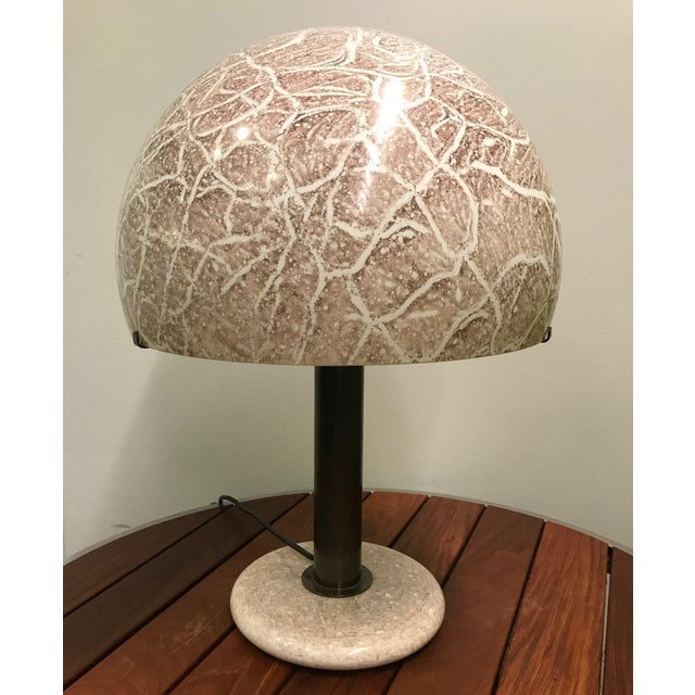 Pair of Venini Glass Mushroom Lamp. Decorative glass shade and base, with a bronzed metal stem.