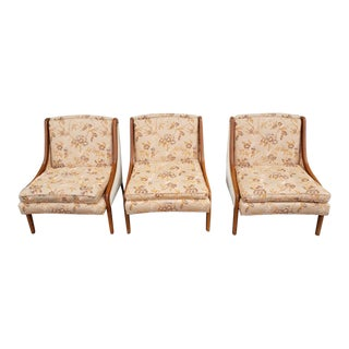 Vintage Stand-Built Upholstery Corp Custom Designed Lacquered Walnut Framed Low Profile Club Chairs - Set of 3 For Sale