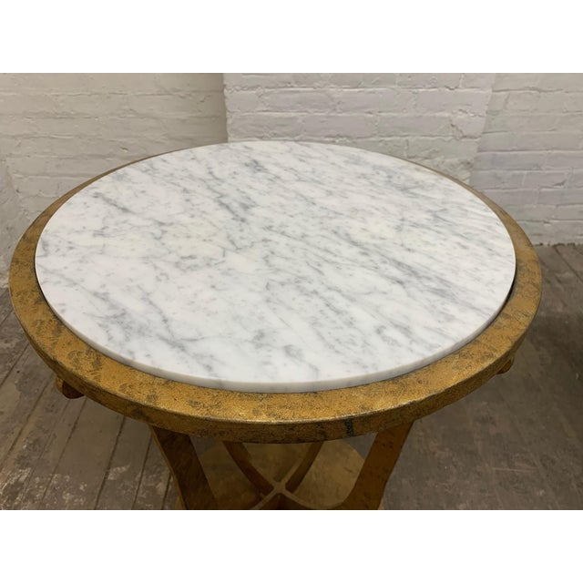 1950s Pair of Gilt Iron and Carrara Marble Top Gueridon Tables For Sale - Image 5 of 6