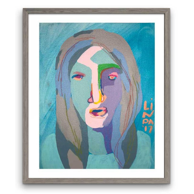 This abstract portrait is by contemporary artist Linda Ward of Detroit. This portrait is #105 out of a series of 500...