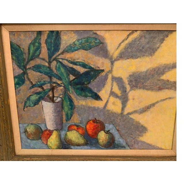Yellow Mid-Century Modernist Still Life Oil on Canvas Painting For Sale - Image 8 of 10