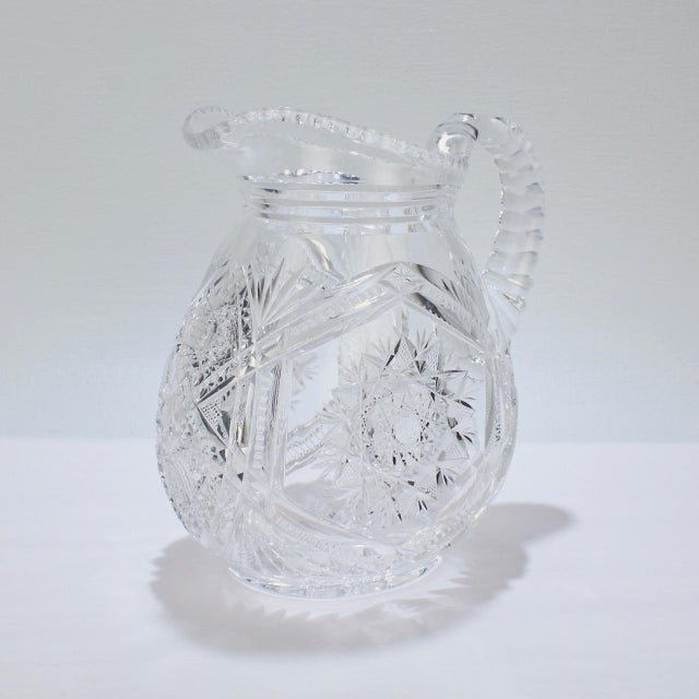Fine Vintage Cut Glass Pitcher with a Narrow Body For Sale - Image 12 of 13