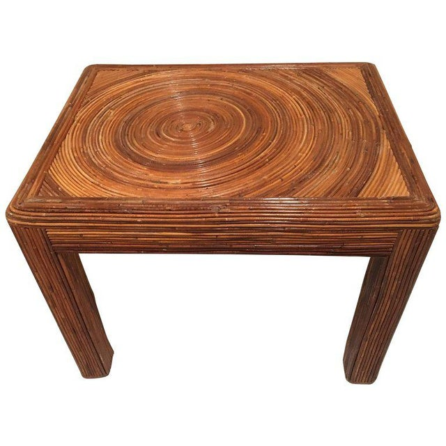Brown Pencil Reed Rattan Side End Table For Sale - Image 8 of 8
