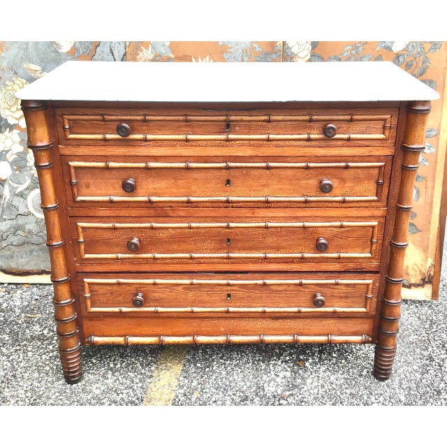 19th Century American Marble Top Faux Bamboo Chest of Drawers For Sale - Image 9 of 10
