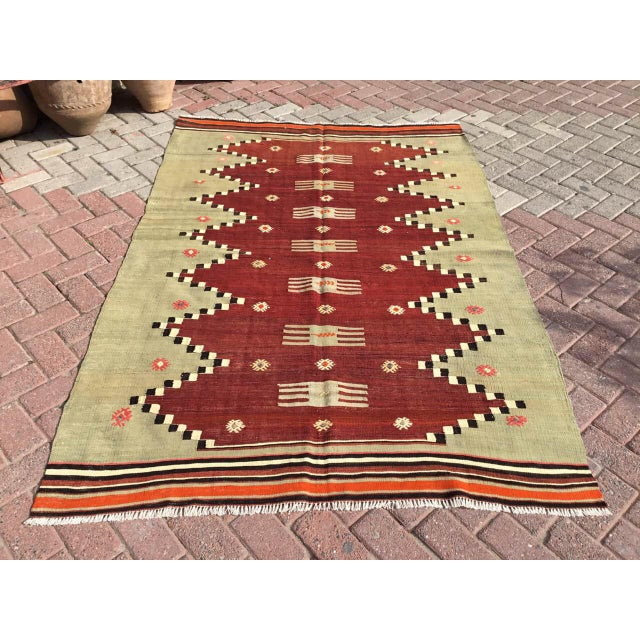 "Vintage Turkish Kilim Rug - 4'9"" X 7' - Image 10 of 10"