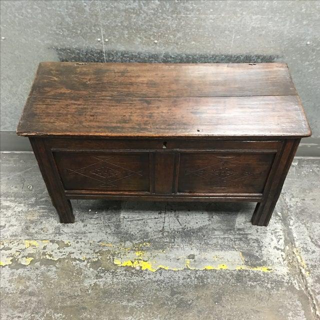 Vintage Oak Carved Chest or Trunk - Image 3 of 9