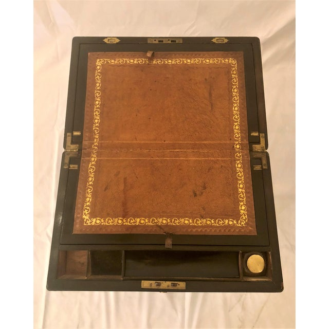 English Traditional Antique English Mid 19th Century Mahogany Writing Box on Stand. For Sale - Image 3 of 6