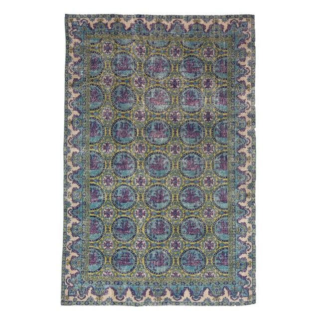 Textile 1960s Vintage Unique Turkish Art Deco Rug- 6′6″ × 9′10″ For Sale - Image 7 of 7