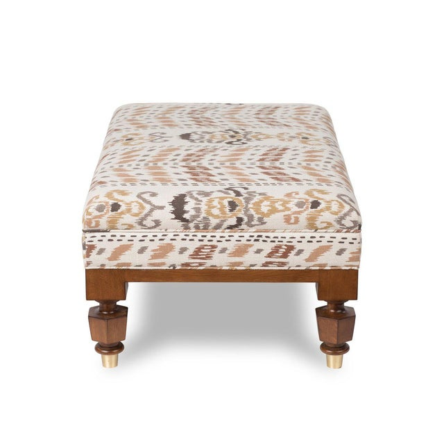 Transitional Lots Road Ottoman - Large in Ikat Crazy Caramel For Sale - Image 3 of 4