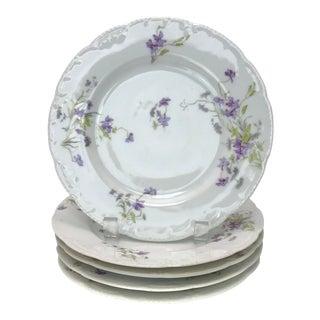 Limoges Violet Porcelain Salad Plates - Set of 5 For Sale