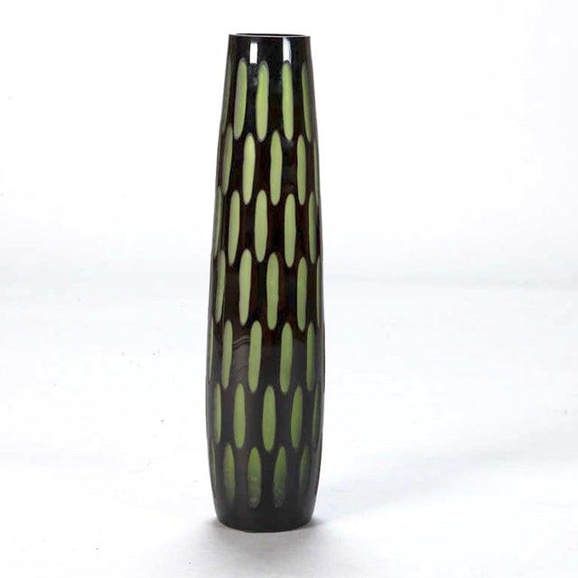 Mid-Century Black & Green Case Glass Vase - Image 4 of 6