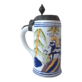 Tin Glazed European Beer Stein With Pewter Lid For Sale