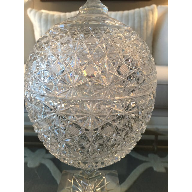 Vintage Russian Cut Crystal Pedestal Compote For Sale - Image 5 of 6