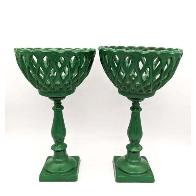 Early 20th Century Large 20th Century Green Cast Iron Compotes - a Pair For Sale - Image 5 of 10