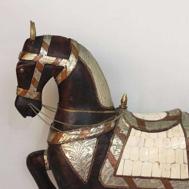 Mid 20th Century Vintage Mid-Century Tang Style Wood and Metal Horse Sculpture For Sale - Image 5 of 13