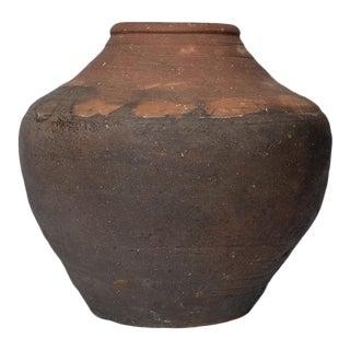 """13.5"""" Tall 18th Century Meiji Shigaraki Tall Japanese Stoneware Jar For Sale"""