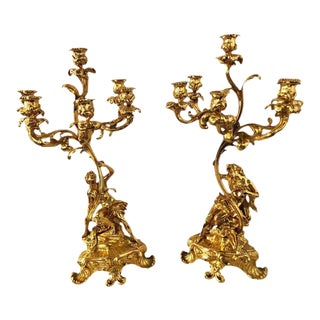 19th Century Bronze 24-Carat Gold-Plated Six-Arm Figural Candelabras - a Pair