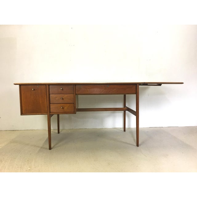 Danish Modern Drexel Parallel Walnut Extension Desk by Barney Flagg For Sale - Image 3 of 9