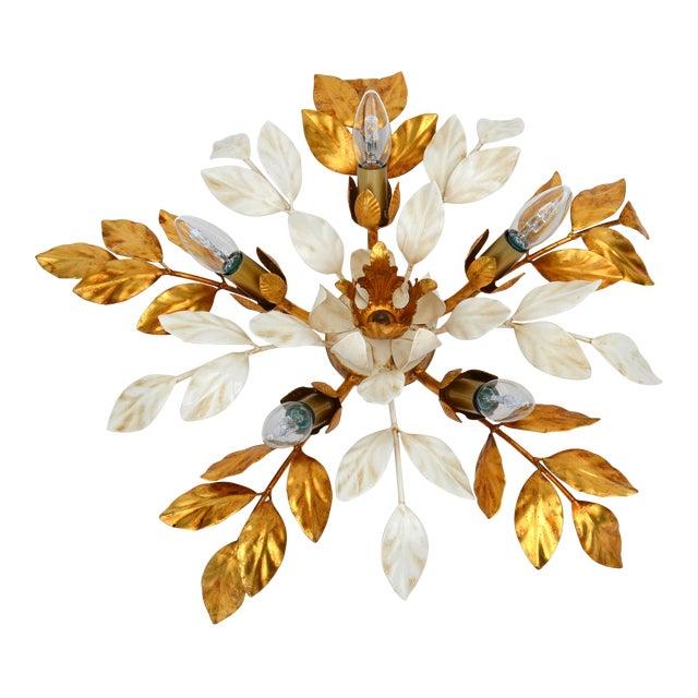 Willy Daro Style Belgium Brass & Enamel Flower Flush Mount in Gold White Finish For Sale