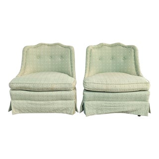 Vintage Mid Century Hollywood Regency Tufted Slipper Chairs- A Pair For Sale