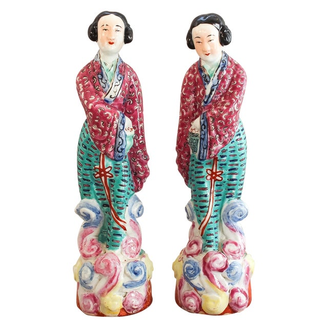 Antique Chinese Famille Rose Statues - Pair For Sale