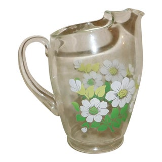 Vintage Glass Floral Pitcher For Sale
