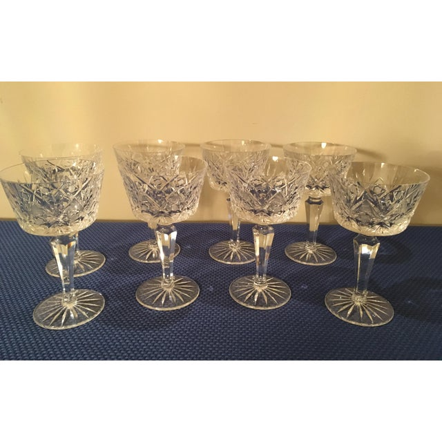 Vintage Crystal Water Glass- Set of 8 For Sale - Image 10 of 11
