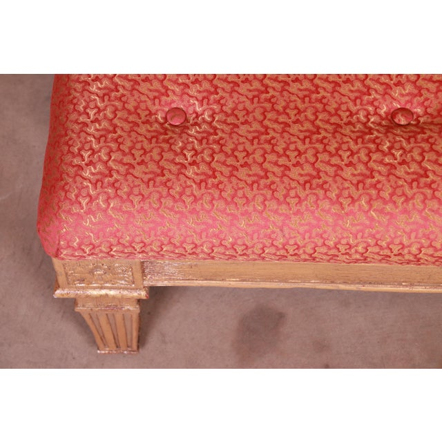 Gold Baker Furniture French Louis XVI Gilt Upholstered Bench, Circa 1960s For Sale - Image 8 of 13