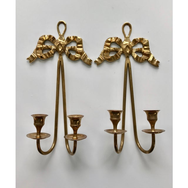 Brass Vintage Brass Bow Candlestick Sconces - A Pair For Sale - Image 7 of 7