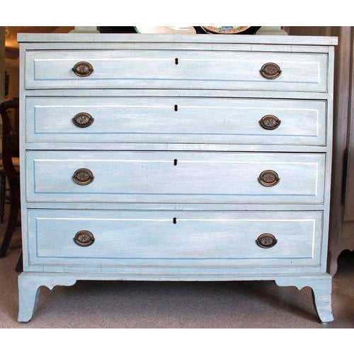 American Blue Painted Federal Chest of Drawers on French Feet - Image 3 of 11