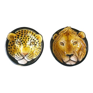 Italian Large Deep Hanging Lion and Leopard Dishes For Sale