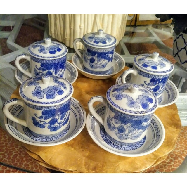 15 Piece Blue and White Chinoiserie Greek Key Lidded Coffee Mugs and Saucers For Sale - Image 9 of 9