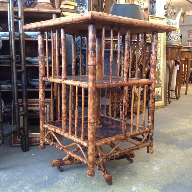 Asian Chinoiserie Bamboo Revolving Bookcase For Sale - Image 3 of 13