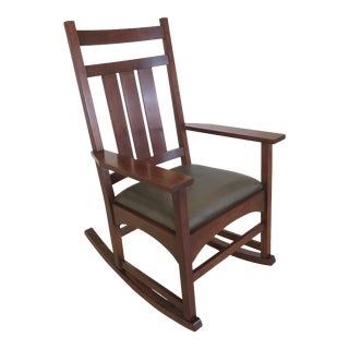 Stickley Mission Cherry Armed Rocking Chair For Sale