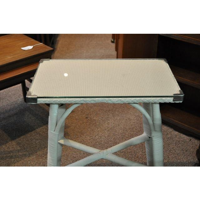 Lloyd Loom Glass Top Side Table - Image 3 of 3