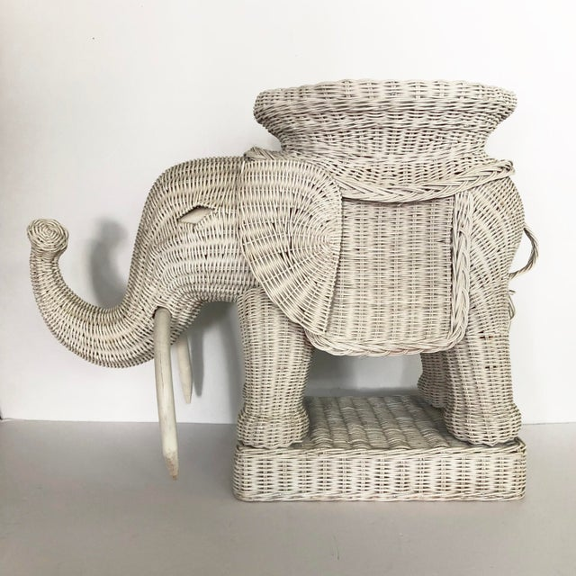 Vintage Wicker Elephant Garden Stool Side Table For Sale - Image 4 of 13
